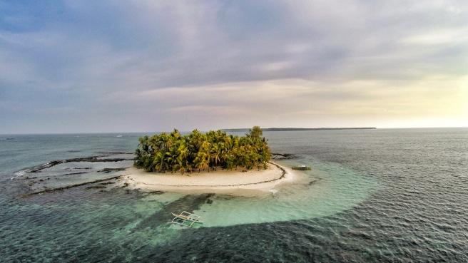 Aerial shot of Guyam Island.