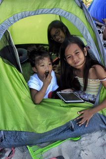 Kids in their own tent.